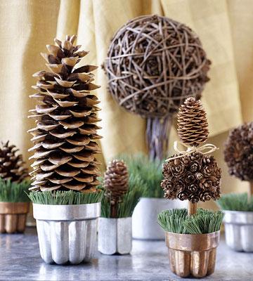 Decorative pinecone trees