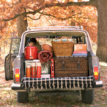 back of truck with picnic supplies