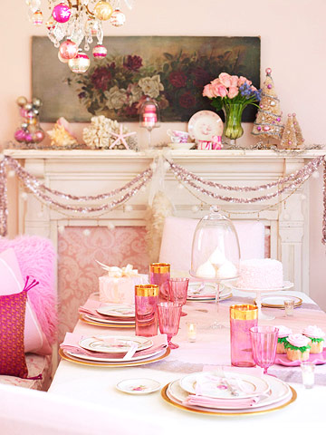 Pink and white dinner table