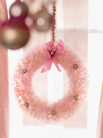 Pink wreath on window