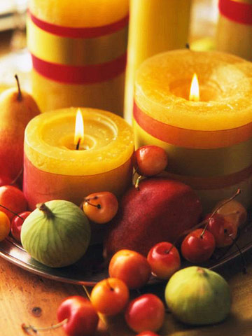 Candles and assorted fruit-BHG