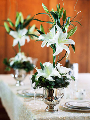 Tall centerpiece with lilies