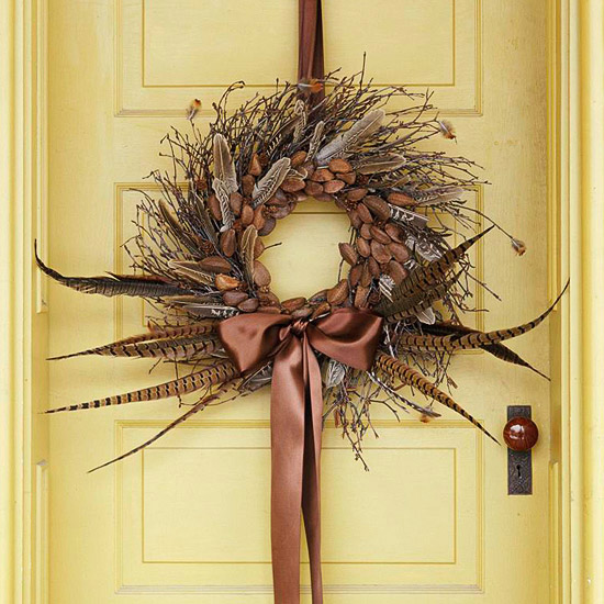 wreath with pheasant feathers