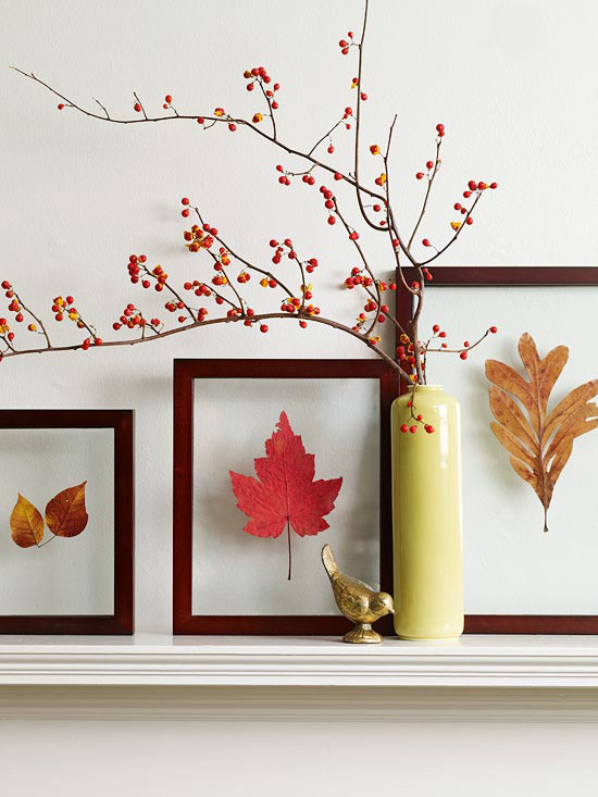 Framed leaves and berries