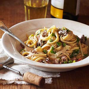Spring Pasta with Morels, Ramps, and Peas