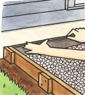 First, Place A Piece Of Expansion Joint Material Between The House And  Patio Area. Then Pour In Enough Gravel To Provide A Depth Of About 1 Inch  Throughout.