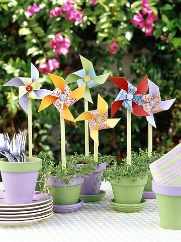 Festive Potted Pinwheels