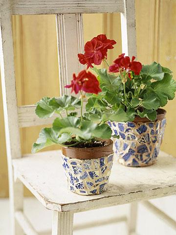 Mosaic-Look Flowerpots