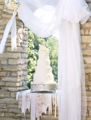 Happily Ever After White Champagne Wedding Cake