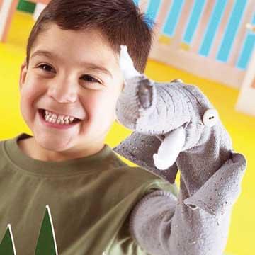 Tusky the Elephant Sock Puppet