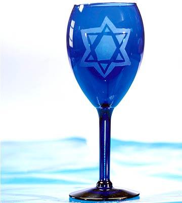 Etched Hanukkah Glass