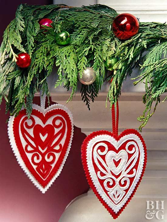 Appliqued Heart Christmas Ornament