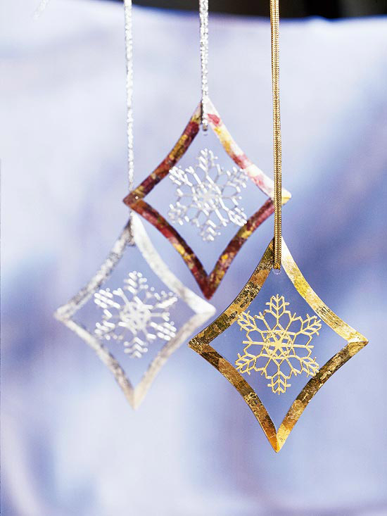 Beveled Glass Snowflake Ornaments