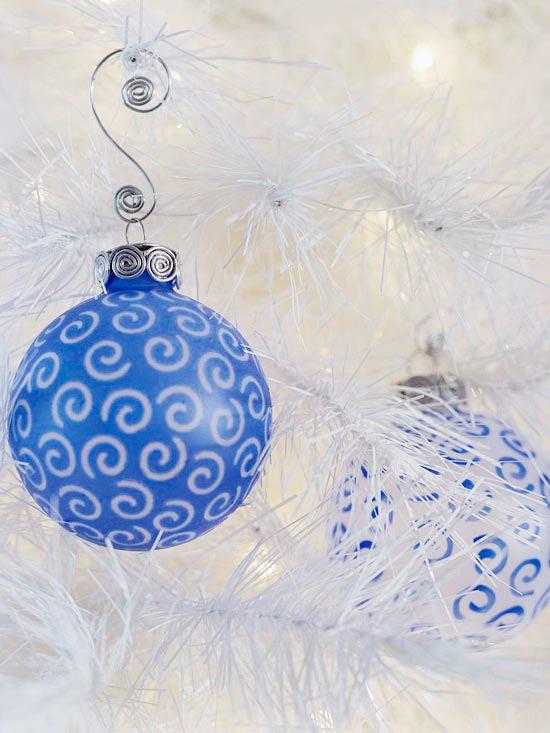 Frosty Blue Swirls Christmas Ornament