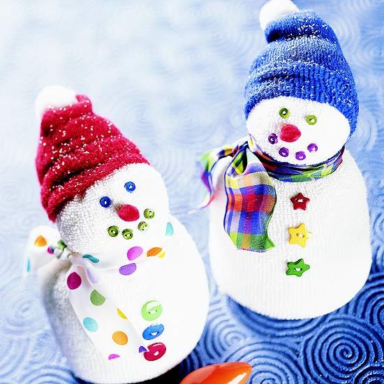 Friendly Sock Snowmen