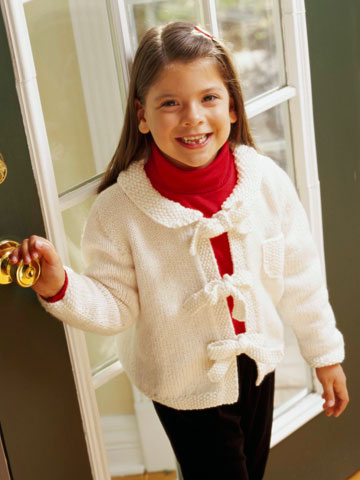 Girl's Knitted Cardigan Sweater with Ties