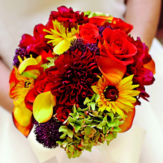 Bouquets for fall weddings vibrant shades of fall junglespirit Images