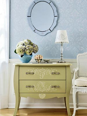 An Unfinished Bombay Chest Of Drawers Becomes A Focal Point When Painted  With A Sage Green Base Coat And Adorned With Cream Initials In French  Script.