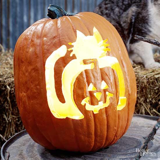 Cat-o'-Lantern Pumpkin Stencil
