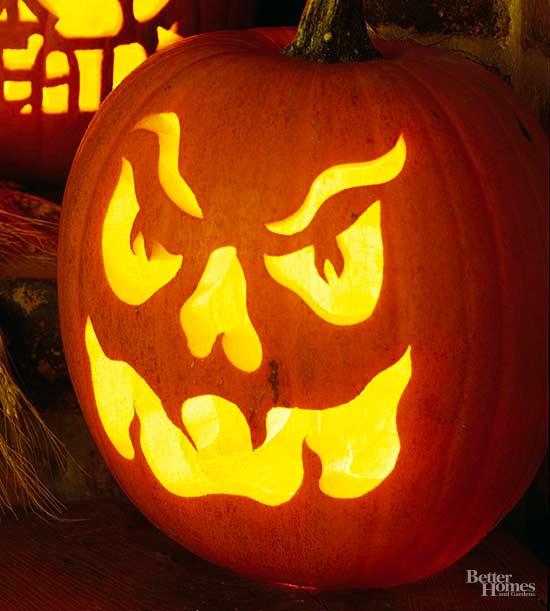 Angry Face Pumpkin Stencil
