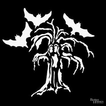 Haunted Tree Pumpkin Stencil