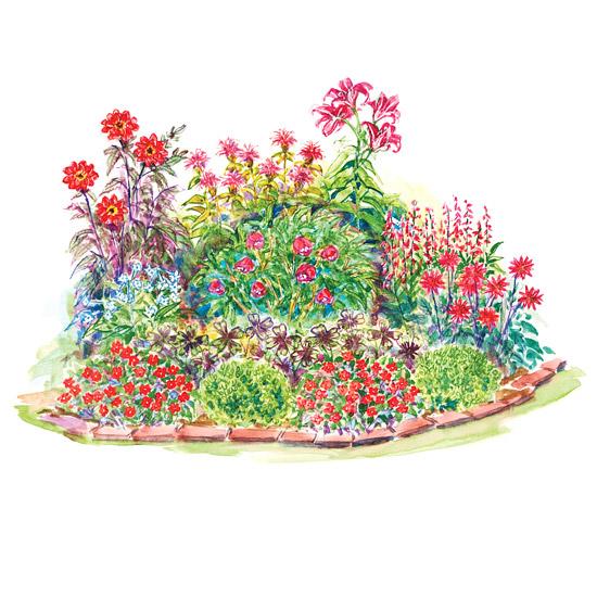 Red Theme Garden Plan