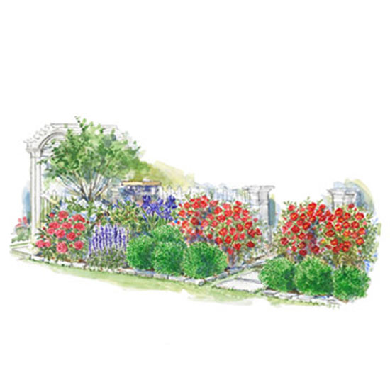 Colorful Front Entry Garden Plan