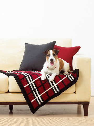 Knitted Plaid Pet Blanket
