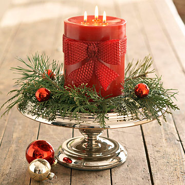 Mold a Pretty Red Beeswax Bow Around a Christmas Candle