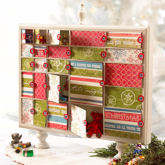 Scrapbook Paper Advent Box for Christmas