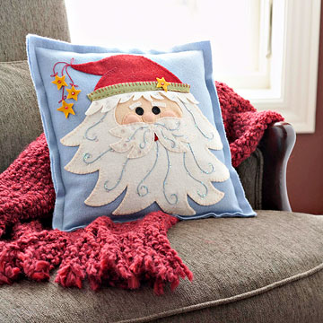 Felted-Wool Santa Pillow