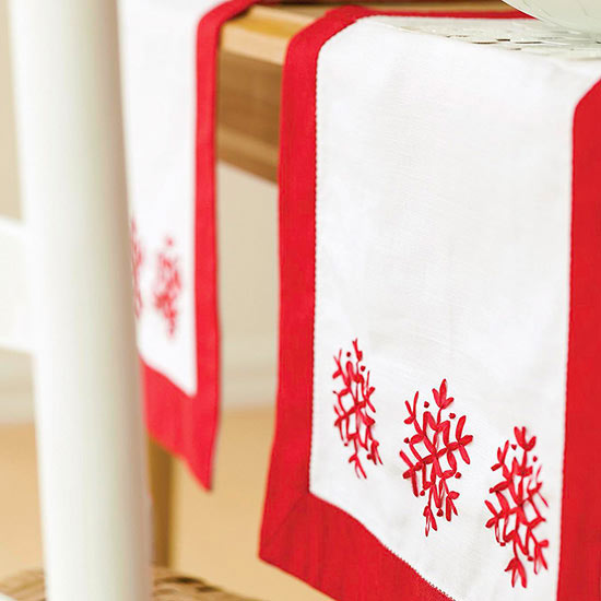 Easy Embroidered Holiday Table Runner