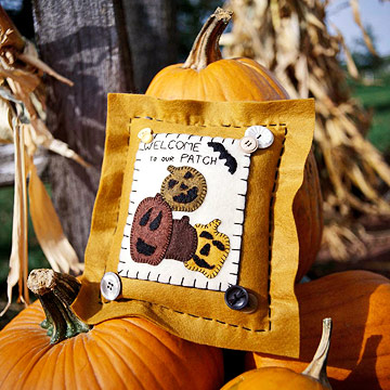 Pretty Felt Pumpkin Patches Pillow