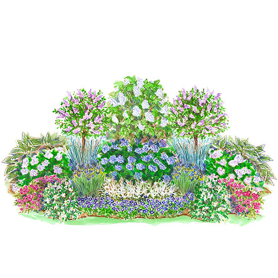 Easy care summer shade garden plan for Easy to care for landscaping plants