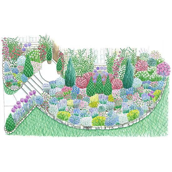 Summer-Blooming Front-Yard Cottage Garden Plan