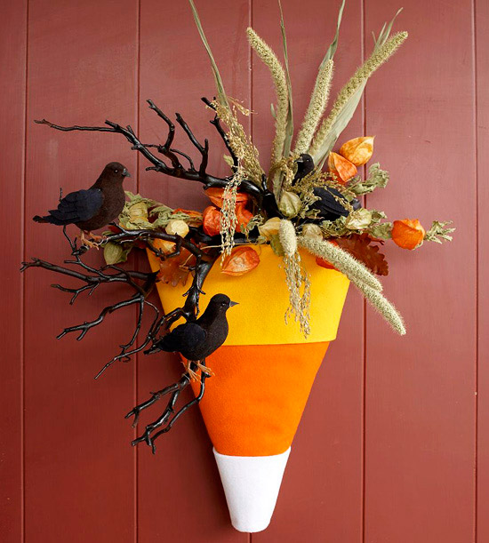 Easy At Home Halloween Decorations: Craft A Simple Candy-Corn Door Decoration For Halloween