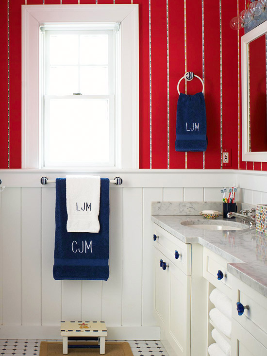 Exceptional White And Red Bathroom Ideas Part - 11: Red, White U0026 Blue Bath