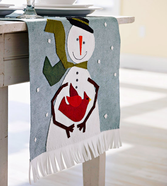Make a Runner or Pillow with this Appliqued Snowman Design