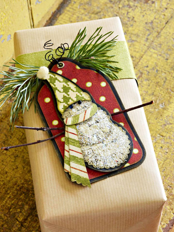 Glittery Snowman Gift Tag