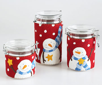 Make Snowmen Canister Covers from Felted Wool