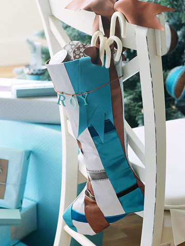 Make a Christmas Stocking from Blue, Brown, and  Silver Ribbons