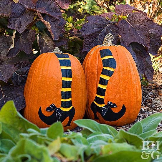 Create Witch's Legs from a Pair of Pumpkins
