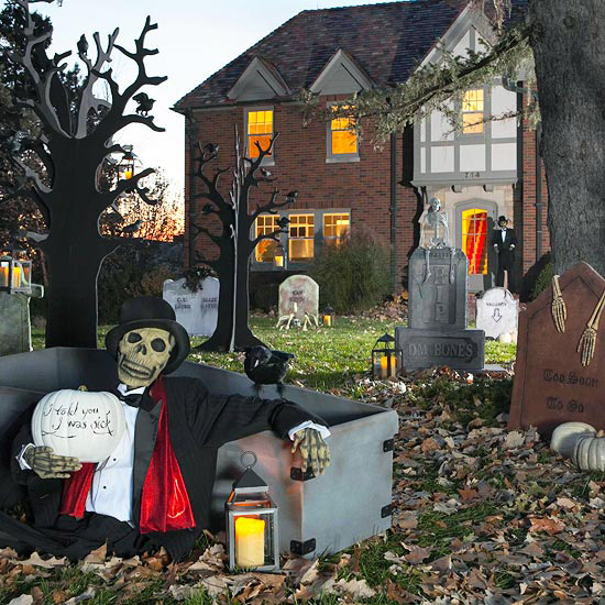 Decorate House For Halloween: Make Faux Tombstones For Halloween