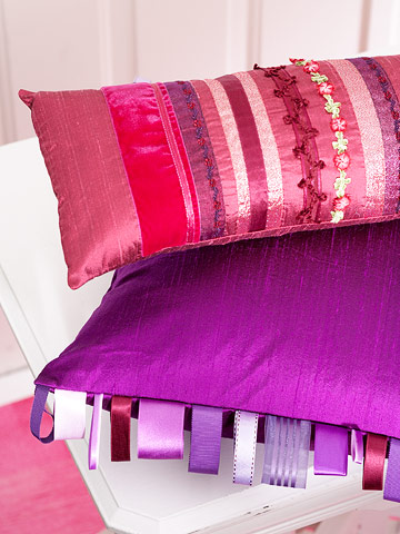 Pretty Ribbon-Embellished Pillows
