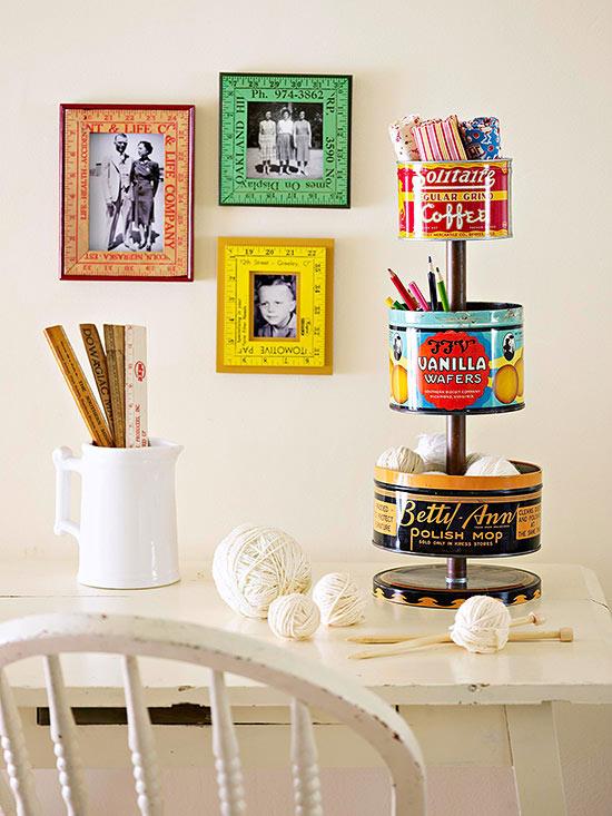 Vintage-Tin Crafts Supplies Organizer