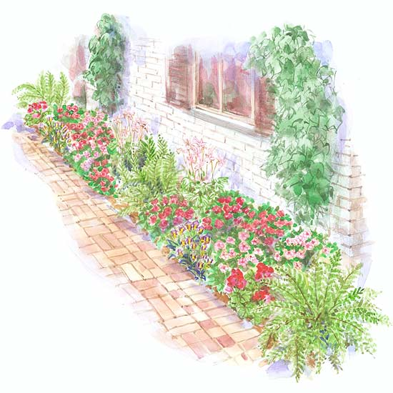 Bold and bright foundation garden plan for Small garden layouts designs