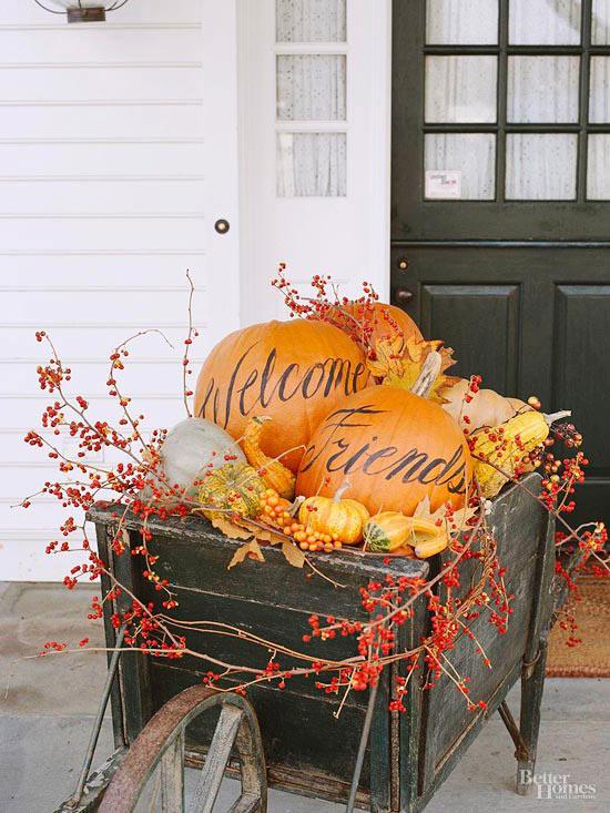 Welcoming Pumpkin Wheelbarrow