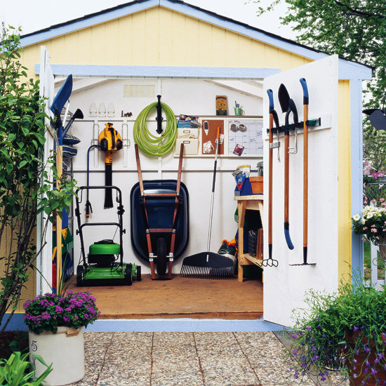 Storage and organizational secrets for your garden shed for Home garden design tool