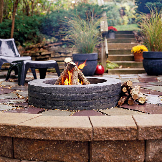 A Fire Pit with Built-In Seating