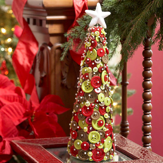 Miniature Christmas Tree Made with Buttons